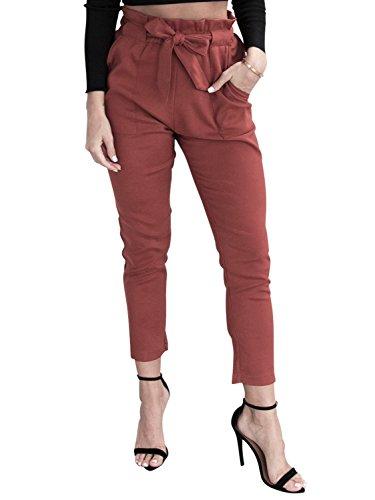 Simplee Apparel Damen Hosen Elegant High Waist Stretch Chiffon Skinny Hosen Pants Casual Streetwear Hosen mit Tunnelzug- Gr. 40 / XL, Rot (Stretch-center)