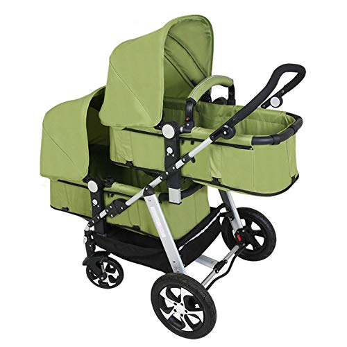 GHH Double Strollers Baby Pram Tandem Buggy Newborn Pushchair Ultra Light Folding Child Shock Absorber Trolley Can Sit Half Lying 0-3 Years Old(Maximum Loadable 50Kg Baby),Green  CBDFG