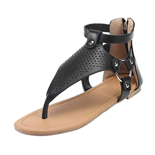 Weibliche Sandalen, Sommer Damen Freizeit Roman Solid Hollow Toe Zipper Flache Sandaletten (Color : Black, Size : 42)