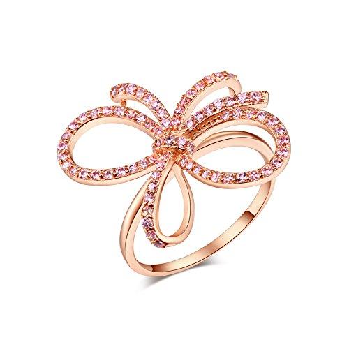 barbie, anello da ragazza e donna,anello bianco e rosa, dalla forma di farfalla,anello elegante, anello di squisita fattura #BSJZ037 (Argento925+zircone rosa+placcato in oro rosa, diametro 16.6mm)