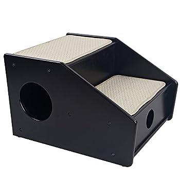 Petsfit Escaliers pour animaux en bois, 2 étapes en sisal, Escaliers de 2 étapes pour les chiens, Échelle grimpeur pour les chiens, Escaliers pour plus ancien ou petits chiens, Café noir, 53cm x 43cm x 35cm