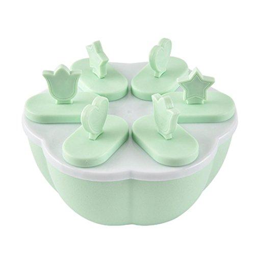 Eisformen 6 Zelle Maker Lutscherform Tablett Küche Gefroren Eis DIY-Form Hirolan Stieleisformer Eislutscher Formen aus Silikon BPA Frei Formen (13.5x13.5x9.5cm, Grün)