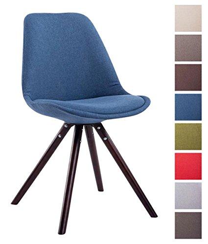 CLP Sedia dal design vintage TOULOUSE con gambe rotonde in legno color cappuccino, seduta in tessuto e imbottita. blu