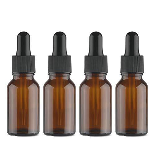 oz Leer Pipettenflaschen (Glasflasche mit Transferpipette) - Braunglas, Amber- Pipettenflasche Glaspipette/Tropfpipetten für ätherische Öle Aromatherapie + 4x Trichter ()