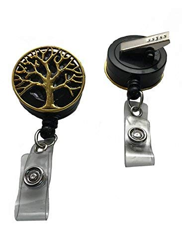 Gold Tree of Life Badge Reel Holder Lanyard Roll-Alligator Swivel Clip