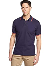 CLUB ROOM MEN POLO SHIRT, SHORT-SLEEVED DOUBLE TI NAVYFIRE POLO T-SHIRT