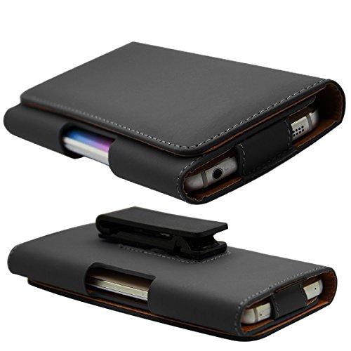 HubLines Gürtel-Handy-Holster-Tasche mit Clip Schutzhülle in schwarz PU Leder für 5.5 - 4.7 Zoll mit 360-Grad-Dreh-Gürtelclip – Innenmaße 15.5 cm × 8 cm Größe XL - für iPhone 6 s, 7 plus, Samsung, HTC, LG, Huawei, Xiaomi, Sony, Smartphone - Holster Gürtel Clip Seitentasche Magnet Trageclip Handytasche Etui Case Gürtelholster