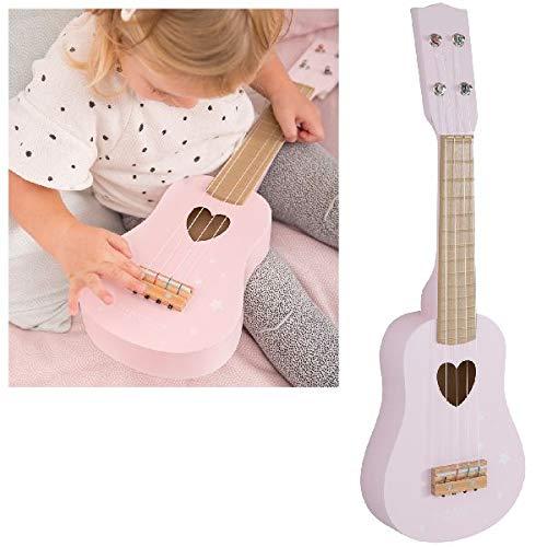 LITTLE DUTCH 4408, Kindergitarre aus Holz, Rosa (adventure pink), 54 x 17 x 6,5 cm
