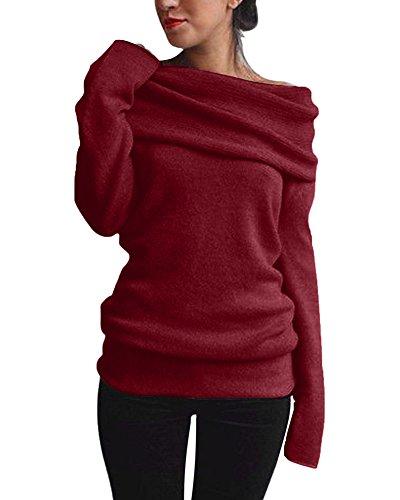 Minetom Damen Herbst Winter Sexy Pullover Langarm Off Shoulder Sweater Asymmetrisch Strick Langshirt Bluse Top Tunika Z Weinrot DE 36