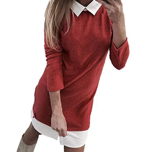 Mymyguoe Tunika Kleid Frauen Mädchen Mini-Kleid Patchwork Freizeithemd Kleid Umlegekragen Langarm Schlank Kleid