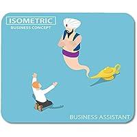 Deglogse Estera del cojín de ratón del Juego, Assistance Flat 3D Isometric Businessman and Genie