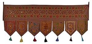 Jaipur Hand Mirror & Embroidered Design Cotton Door Valance Toran 42 X 18 Inches