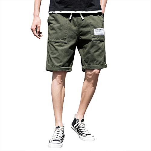 Spandex-vintage-shorts (Zarupeng Herren Sommer Cargo Shorts Pure Color Freizeit Shorts Overalls Elastische Bund Vintage Chino-Shorts Bermuda Kurze Hose Laufen Fitnessshorts)