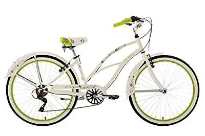 "Beach Cruiser 26"" Bellefleur White-Green 6 Gear KS Cycling"