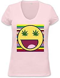 Smile Marihuana Eyes Slogan Womens V-neck T-shirt