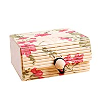 Dylandy Jewellery Box Bamboo Stripes Retro Style Storage Organiser Display Removable Portable Travel Case for Earring Ring Bracelet Necklaces Gift Women Girl Multifunction Durable