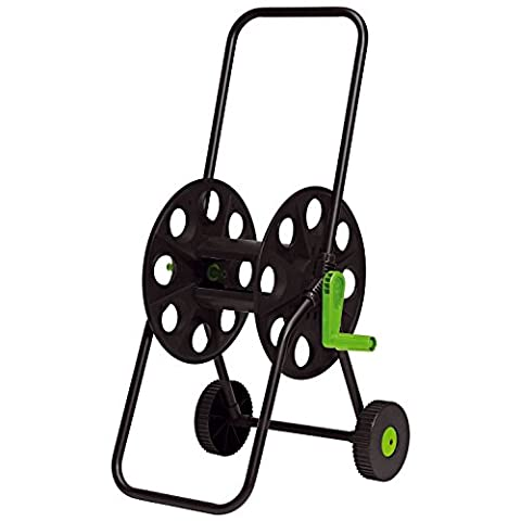 Parkland 50m Hose Pipe Reel Holder Trolley Cart Garden Water Portable & Free Standing