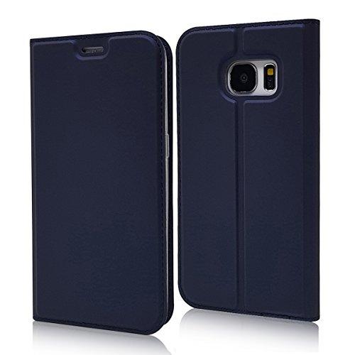 Mioc SAMSUNG Galaxy S7 Flip Case Juwel Blau Ultra Schlanke Premium PU Leder Hülle klapphülle etui wallet bookcase cover für japan style Original SAMSUNG Galaxy S7 (5.1 Zoll) Galaxy Juwelen