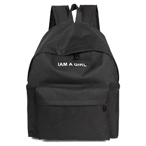 Bolsos Para mujer, RETUROM Bolso de lona de la muchacha mochila bandolera para viajes escolares (negro)