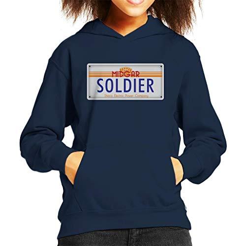 Cloud City 7 Final Fantasy Midgar Soldier License Plate Kid's Hooded Sweatshirt