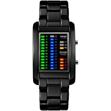 Moda LED Impermeable Rectángulo Correa de Acero Inoxidable Cuarzo Relojes Juveniles Relojes Chico Relojes Hombre, Negro
