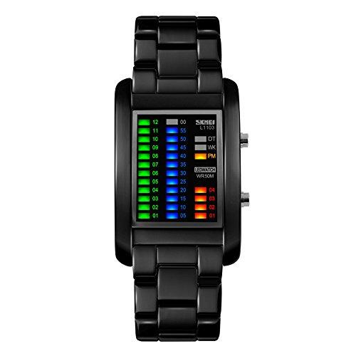 267eaca7a1f3 Moda LED Impermeable Rectángulo Correa de Acero Inoxidable Cuarzo Relojes  Juveniles Relojes Chico Relojes Hombre