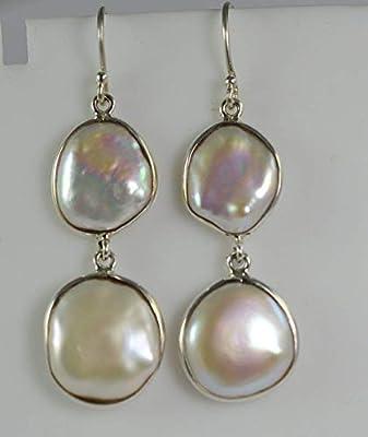 Boucles d'oreilles perles d'eau douce, Boucles d'oreilles perles en argent massif 925