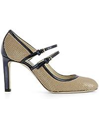 Jimmy Choo Mujer MICHA85SQQNUDENAVY Beige/Azul Cuero Zapatos Altos
