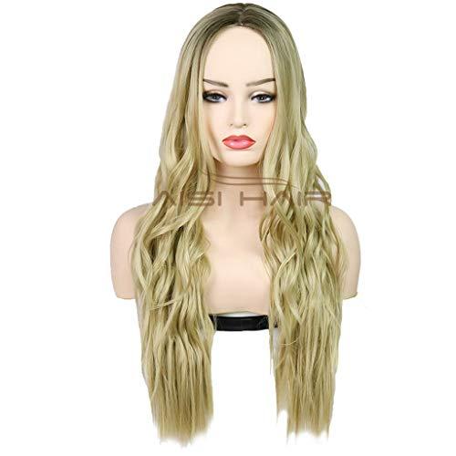 rücken Haar, Lange Blonde lockige gewellte Perücken - Perücke für Frauen Halloween Festival Party Cosplay Perücke (Color : Gold) ()