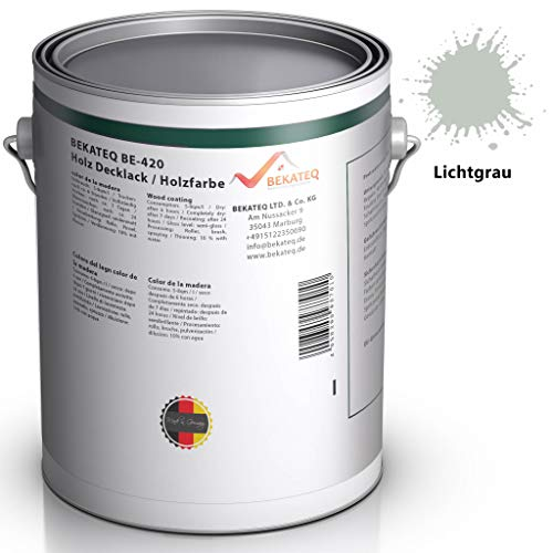 BEKATEQ BE-420 Holzschutzfarbe, 1L Lichtgrau, Holzfarbe auf Wasserbasis in seidenmatt