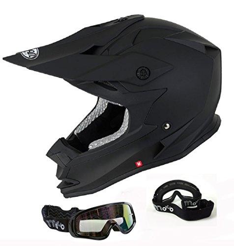 v-can ForceV321Motorrad-/Motocross-Helm, ACU-Gold-zugelassen, matt-schwarzer Helm mit Schutzbrille - schwarz - xl - Helm Lazer Motorrad