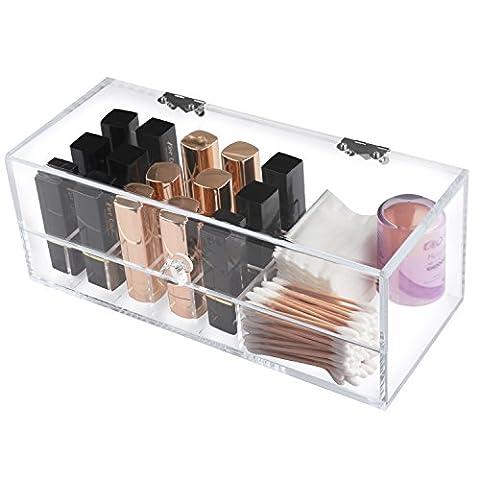 Boxalls Support Présentoir de Rouge à Lèvres à 16 Compartiments et 1 Box pour coton de maquillage, Coton-tige imperméable à la poussière - Rangement Organisateur de cosmétique acrylique clair Fait à la main pour Rouge à lèvres et Vernis à ongles - Transparent