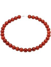 Cadena Korallenkette Collier Koralle Schaumkoralle & 925 plata rojo Halskette Kugelkette para señoras