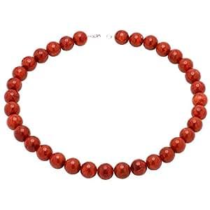 Korallenkette Kette Collier Koralle Schaumkoralle & 925 Silber rot Halskette Kugelkette für Damen
