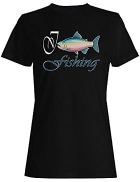 Amo pescar nuevos pescados divertidos camiseta de las mujeres g754f