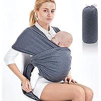 SaponinTree Fular Portabebés Elástico Gris Portador de Bebé, Pañuelo de 100% de Algodón, Porteo Seguro y Ergonómico Durante la Lactancia, Para Padres Unisex