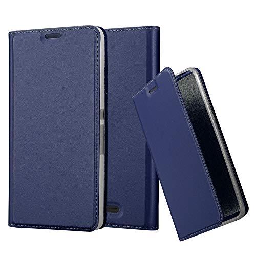 Cadorabo Hülle für Sony Xperia E3 - Hülle in DUNKEL BLAU - Handyhülle mit Standfunktion & Kartenfach im Metallic Erscheinungsbild - Case Cover Schutzhülle Etui Tasche Book Klapp Style