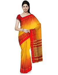 Chhanda Handloom Soft Cotton Women's Saree with Blouse Piece (Yellow & Red)