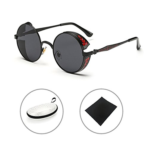 BAINA Retro Round Steampunk Sunglasses Metal Frame Women Men Gothic Vintage Sun glasses