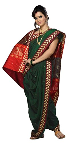 Aasri Women's Poly Cotton Saree (Fhsf-Necklessborder,Green Red,Free Size)
