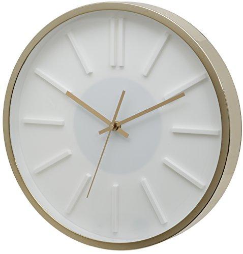 Preisvergleich Produktbild UNITY Missouri Wanduhr,  Weißes Zifferblatt,  goldenes Gehäuse,  35 cm