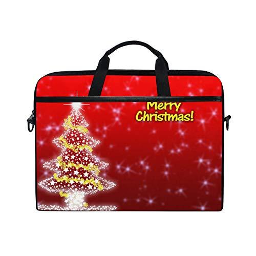 Ahomy 14-15,4 Zoll Laptop-Tasche, Merry Christmas Tree with Gold Star Canvas Stoff Laptop Tasche Bussiness Handtasche mit Schultergurt für Damen und Herren -