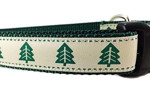 Caninedesign Hundehalsband, Weihnachtsbaum-Design, 2,54 cm breit, verstellbar, Nylon, Größe M und L (Weihnachtsbaum, Größe L 38-22)
