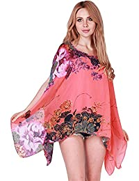 Blusas Superiores Elegante Moda Top Mujer Verano Chiffon Impreso Túnica Patrón Manga Larga Cuello Redondo Abiertas