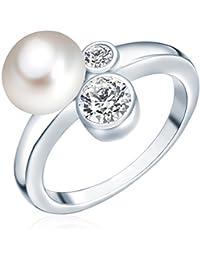Valero Pearls - Bague - Perles de culture d'eau douce - Argent sterling 925 - Bijoux de perles oxyde de zirconium - Bijoux pour femmes - En plusieurs tailles, bague oxyde de zirconium - 60200012