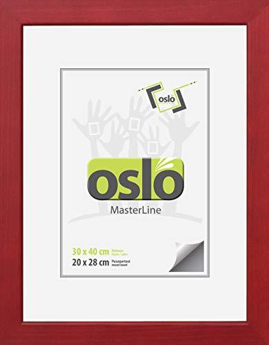 OSLO MasterLine Bilderrahmen 30x40 dunkel rot FSC-zertifiziertes Echt-Holz Glas 2,4 mm breit Urkunden-Rahmen Portraitrahmen