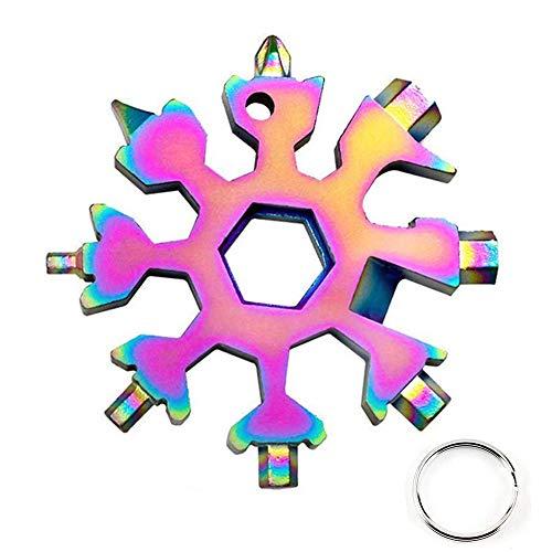 Schneeflocke Multitool 18-in-1 Tragbares Edelstahl-Multifunktionswerkzeug Ringschlüssel für Outdoor-Abent (Mehrfarbig)
