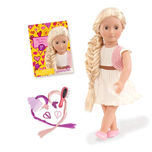 Our Generation 44285 - Phoebe OG Frisier-Puppe mit weißem Kleid