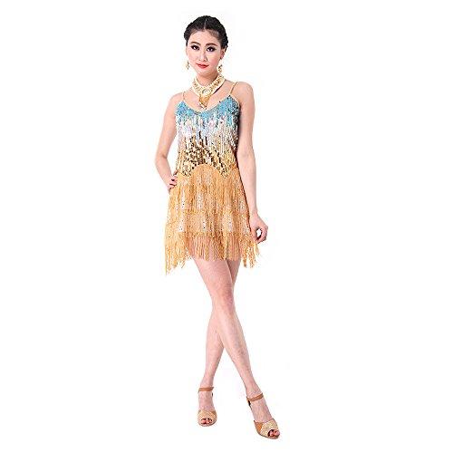 SymbolLife Fransenkleid mit Pailletten Damen Spaghetti Gradient Tanz Damen Hochzeitkleid Tanzkleid Partykleid Mini Charleston kleider Kleid Darbietungen Tanzkostüme für Karneval, (Kostüm Gold Flapper Dance)