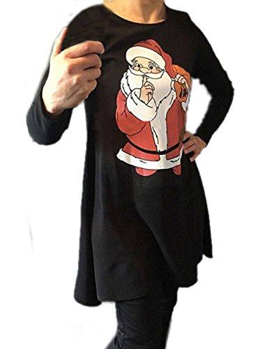ZANZEA Femmes Christmas Noël Xmas Manches Longues Robe Partie Tops Tunique Shirt Dress Jumper Blouse Noir